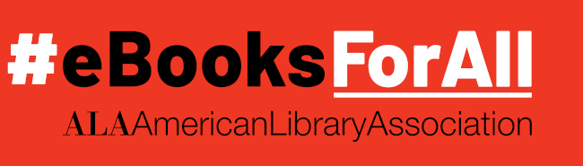 ALA #EBooksForAll logo on red background