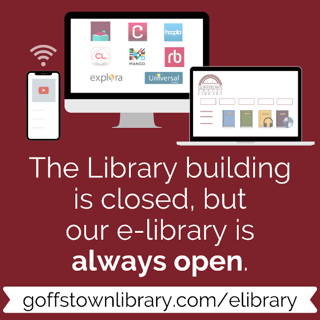 Computer, laptop, phone images showing e-library content available on all