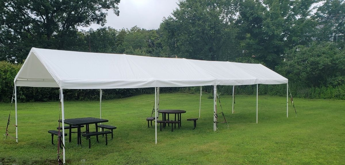 One canopy on the lawn