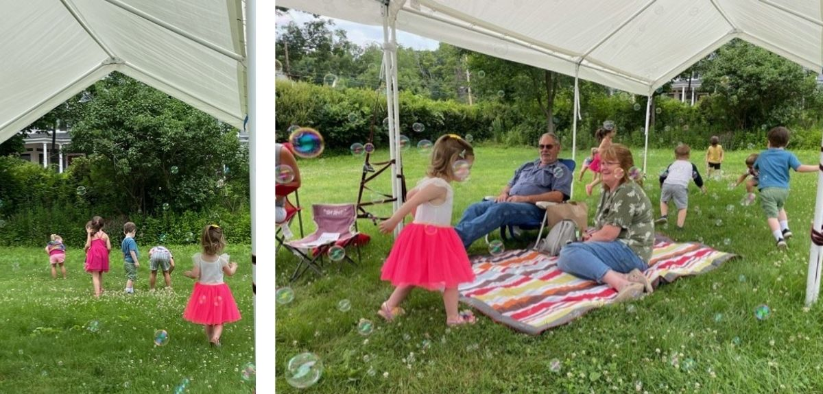Outdoor space in use during Story Time event July 2021